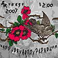 Poppy Artfest stamp with added bird
