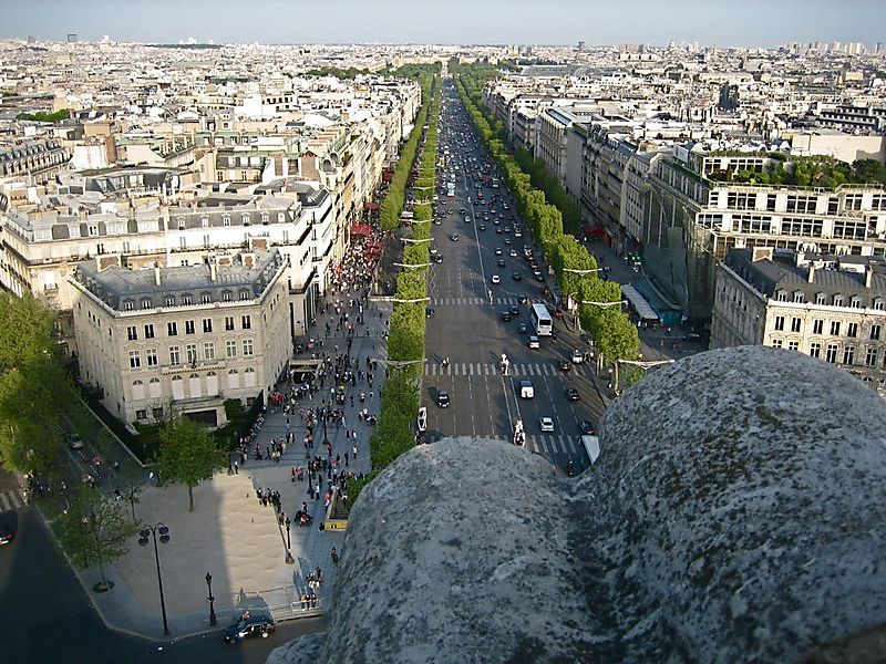 View of the Champs Elysees from the top of the Arc