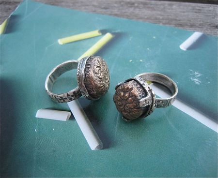 Silver rings with bronze cabs
