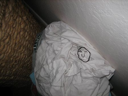 Face in the laundry drawn
