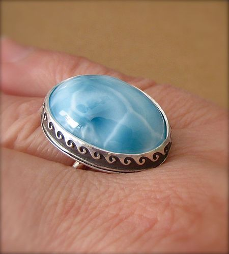 Larimar in metal clay bezel worn