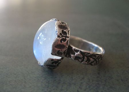 Metal clay bezel rainbow moonstone