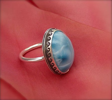 Larimar in metal clay bezel