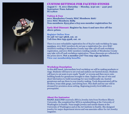 Nanz class MAC CUSTOM SETTINGS FOR FACETED STONES August 6 – 8