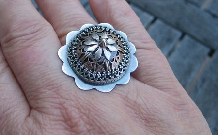 RAW 33:52 filigree crown ring on hand