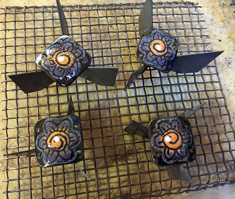 2 enameled links fresh out of kiln 12x10