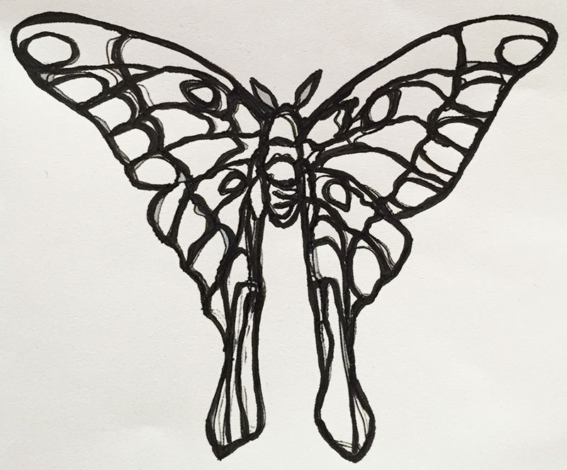 Wire luna moth a print out12x9.9 also