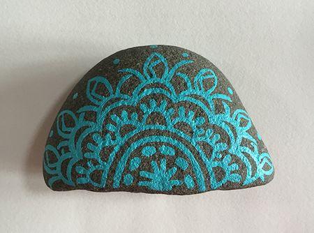 Half circle painted rock 8x5.9