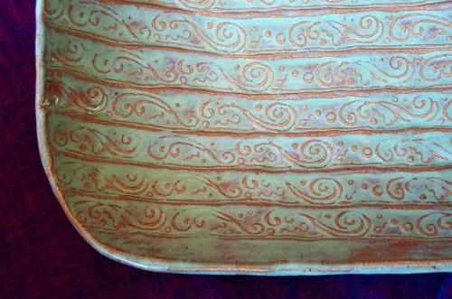 Green spiral platter detail