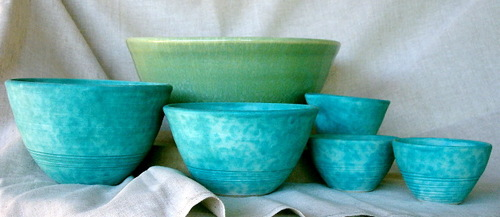Green and turquoise bowls